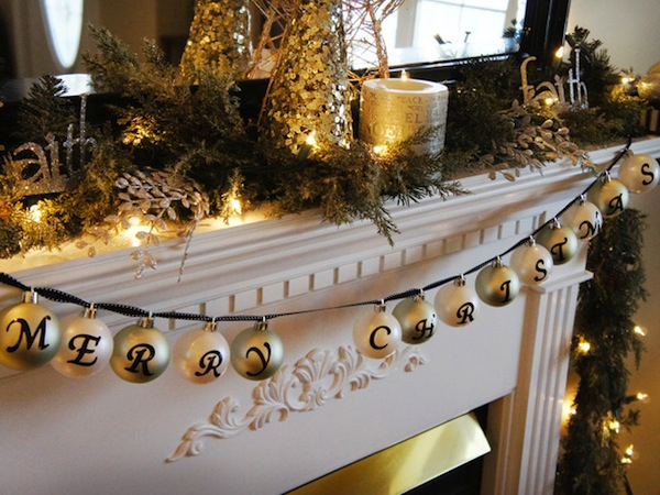 Cool  Classic Christmas fireplace decoration with candles balls bells stars