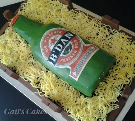 Beer Bottle Cake in Crate