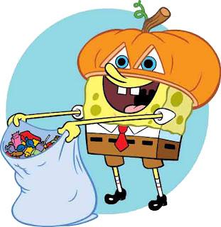 bob esponja disfrazado de calabaza