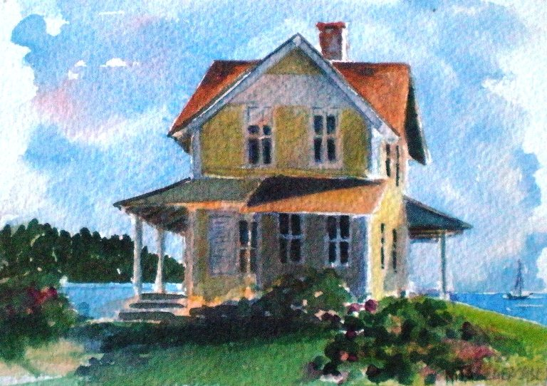 Nita l ger casey the small cottage by the sea for Watercolor cottages