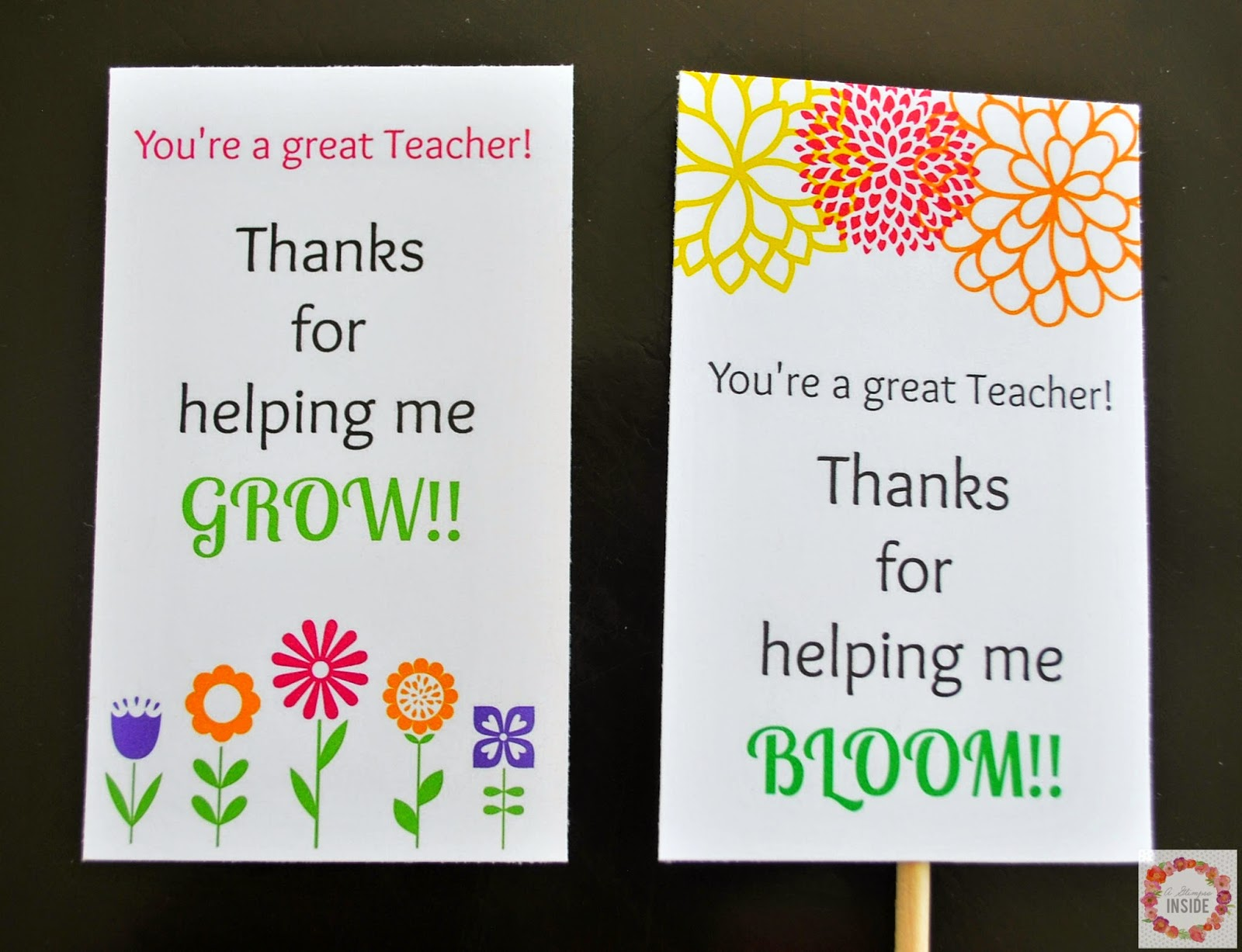 A Glimpse Inside: Teacher Appreciation Card Printables