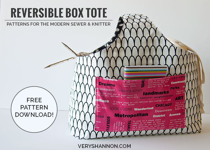 FREE Reversible Box Tote Pattern from VeryShannon.com #RBTote #free #sewing #pattern