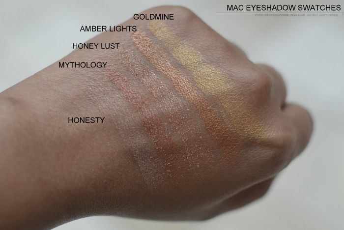 MAC Eyeshadow swatches darker Indian skin tone nc45 must have best neutral makeup beauty blog honesty mythology honey lust amberlights goldmine