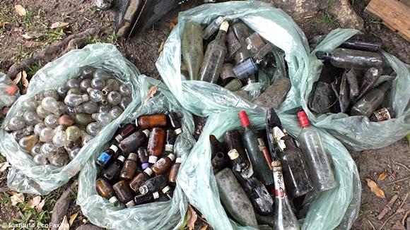 Lampadas, remédios, garrafas e outros objetos de vidro.