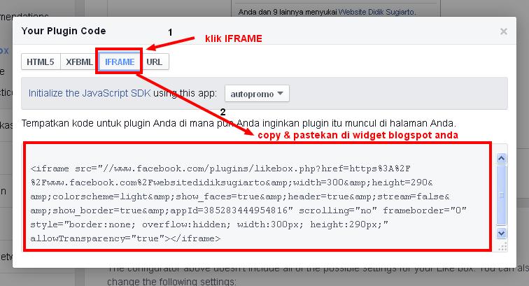 code plugins sosial facebook like box