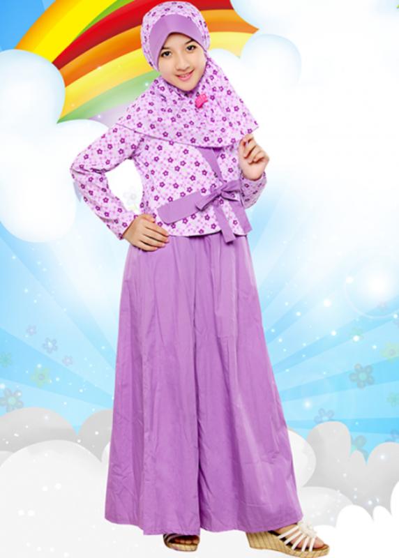 Baju muslim anak perempuan cantik warna ungu motif bunga