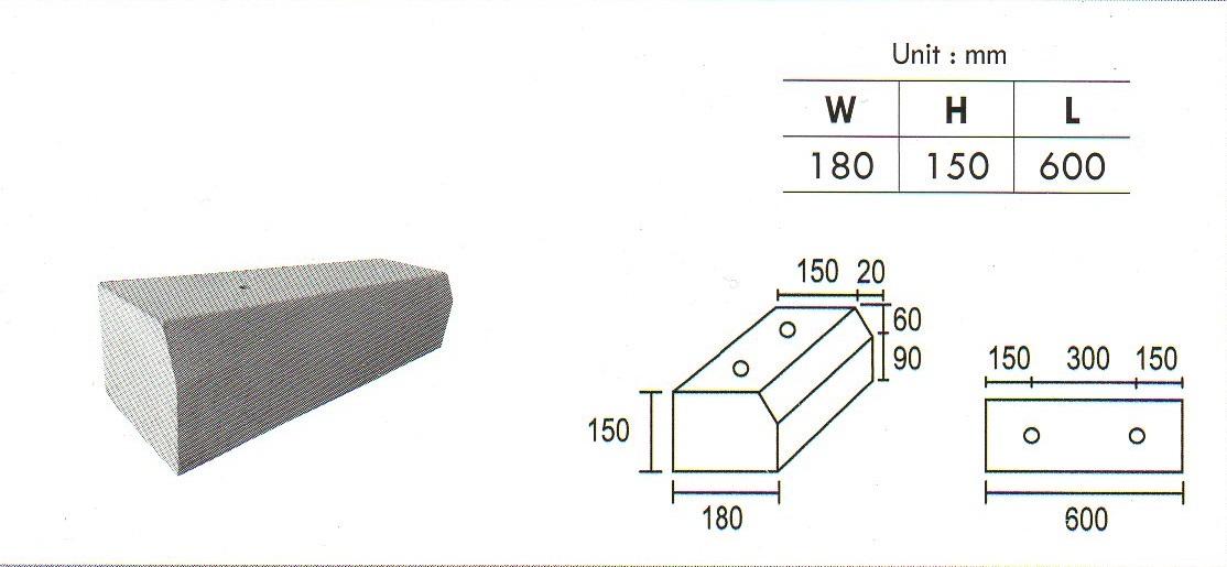 Precast Concrete Wheel Stop Standards : Precast compressed slab concrete grating wheel stopper
