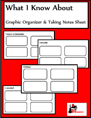 Free graphic organizer for note taking from Raki's Rad Resources.