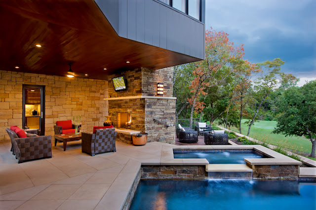 Photo of lovely terrace with the tv by the pool area