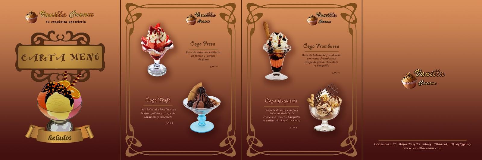 MCrea Design: Carta Menu de Helados para la pastelería Vanilla Cream