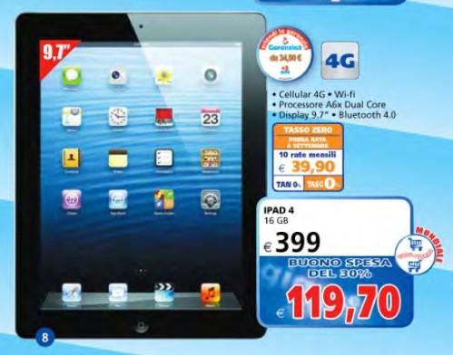 Da il Gigante iPad 4 16GB wifi + Cellular a 399 euro tasso zero + buono spesa