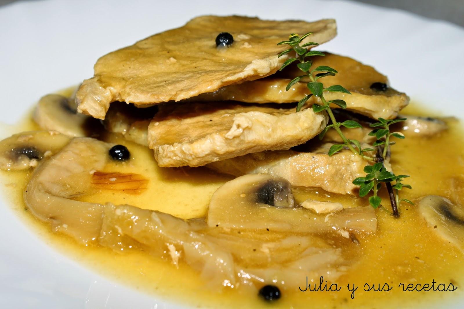 Julia y sus recetas lomo de cerdo a la sidra con setas y - Guarniciones para carne en salsa ...
