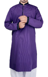 Purple and Blue Kurta with White Salwar