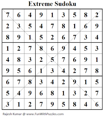 Extreme Sudoku (Fun With Sudoku #131) Solution