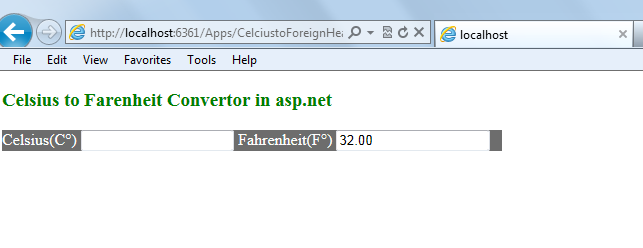 Fahrenheit to CelSIUS Converter in asp.net C# VB.NET