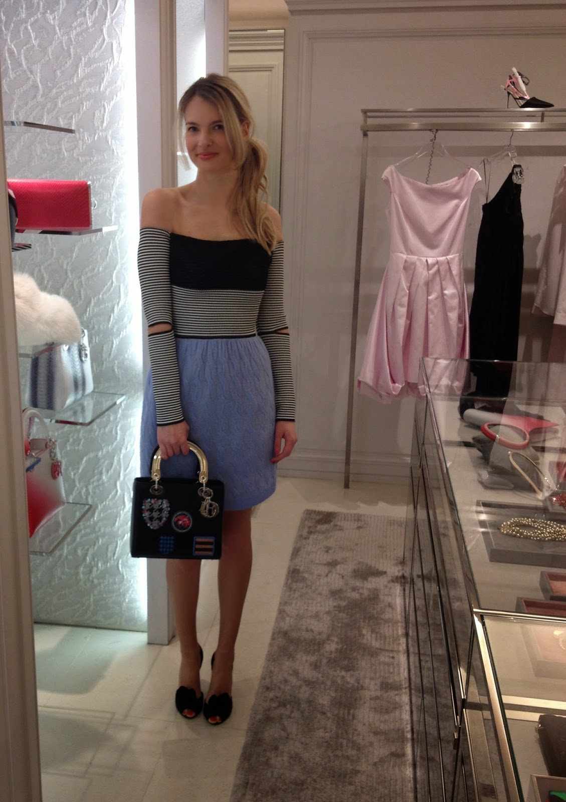 lady dior, lady dior bag, lady dior bag with patches, dior dress, off the shoulder dior dress, dior ready to wear, dior spring summer 2014, knitted skirt, volume skirt, baby blue skirt, striped dress, harrods, chrissabella