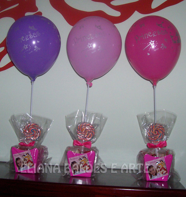 Centros de mesa (cachepot personalizado com guloseimas + balão látex