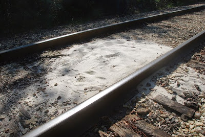 Fracking sand on a railroad bed