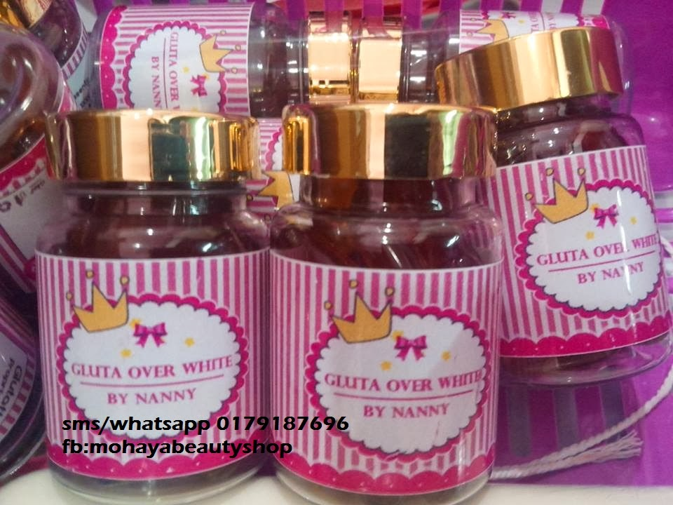 Gluta over white by nanny Sebotol RM60.00 (S/M) RM65.00(S/S)..FREE POSLAJU  HARGA BORONG: FREE POSLAJU RM50.00 x 6 botol keatas RM49.00 x 12 botol keatas RM 48.00 x 24 botol keatas  CEPAT2 SELAGI STOK MASIH ADA>>>>NAK ORDER??  CARA ORDER PALING CEPAT & MUDAH TAIP GLUTA OVER WHITE><KUANTITI><LOKASI SMS/WHATSAPP PN AYA >>0179187696  CONTOH: GLUTA OVER WHITE 1 BOTOL  SELANGOR  Gluta Over White By nanny  Gluta Over White will help whitening the skin. It allows aura shine bright pink cheeks, improve skin elasticity, fade away the acne, slow down the aging, reduces the wrinkles caused by aging and help balance skin and keep the skin smooth and evenly. The skin will not return to the black. Packing: 1 bottle has 30 tablets and each tablet contains: Glutathione 10000 mg. Rasberry Extract 5000 mg Pacenta 150 mg. Collagen 1500 mg. Vitamin C 1000 mg   Direction: take 1 tablet before bedtime with warm water