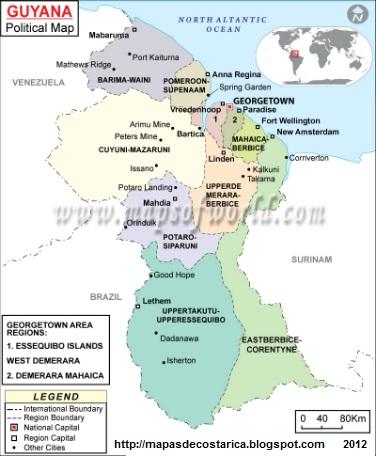 Mapa de la organización política de GUYANA, nombre de las regiones de GUYANA