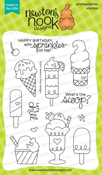 Summer Scoops 4x6 photopolymer Stamp Set  | Newton's Nook Designs