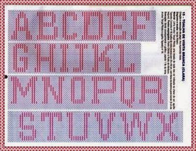 Alfabeto para crochê, gráfico de letras