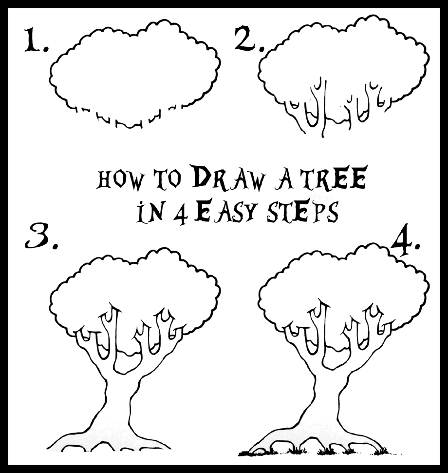 how to draw a tree in four easy steps daryl hobson artwork. Black Bedroom Furniture Sets. Home Design Ideas