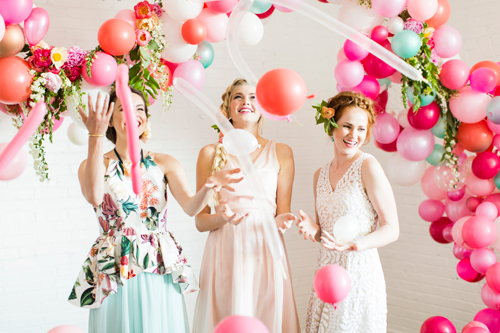 Flamingo Pop. A bridal collaboration with BHLDN and The House That Lars Built. Photo by Jessica Peterson.Balloons from Zurchers. Flowers by Tinge. Clothing from BHLDN and Anthro.