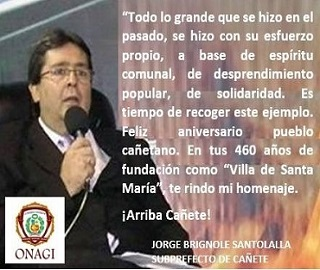 SUBPREFECTO DE CAÑETE, JORGE BRIGNOLE SANTOLALLA
