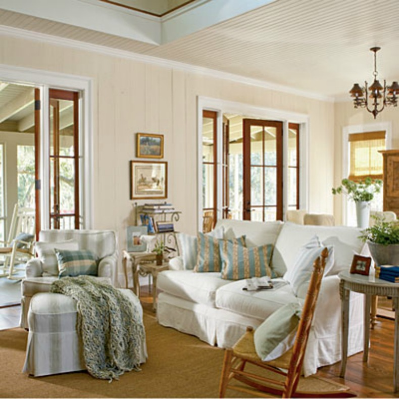 white slipcover sofas and chairs in cottage living room