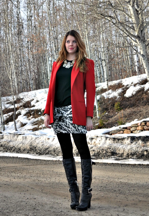 Outfit with Red Blazer, Black and White Mini Skirt and Tall Boots