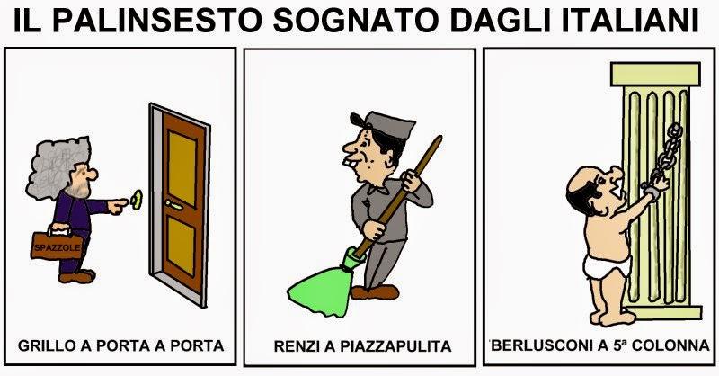 Vignetta Renzi Grillo Berlusconi