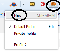 new user profile on firefox