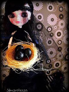 diy halloween- pájaro diabólico+nido-