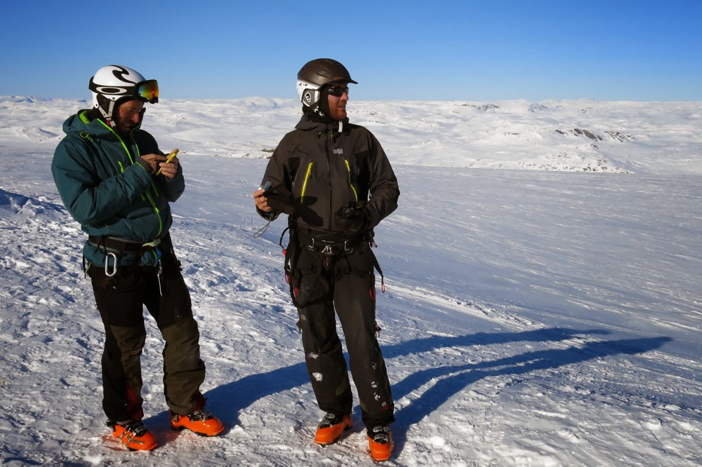 Mika and Ronny on the summit of Hardangerjokulen, Finse, Norway