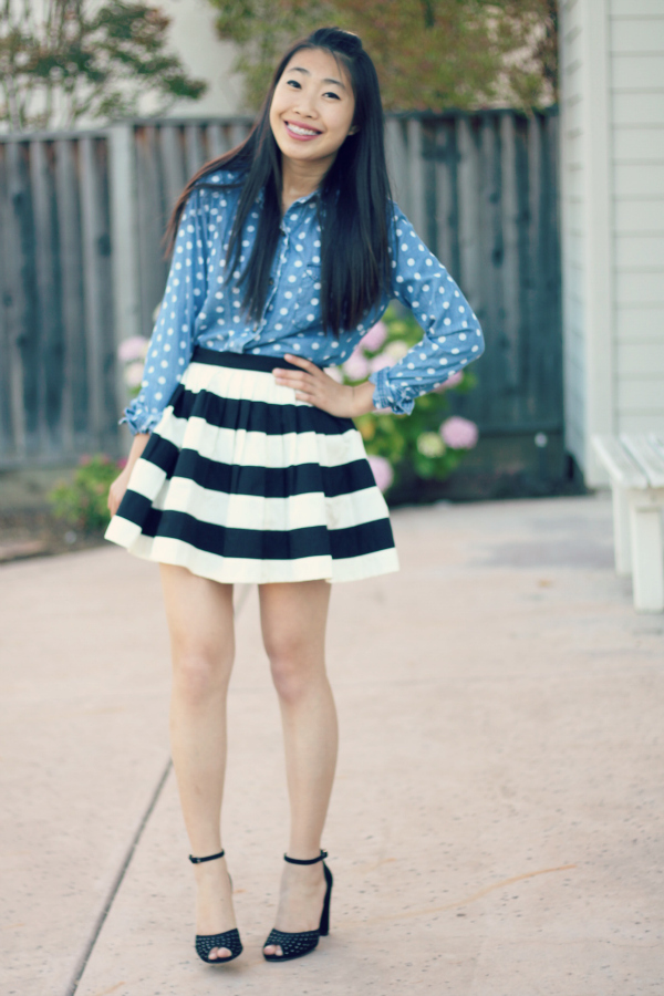 dot chambray shirt and stripe skirt outfit