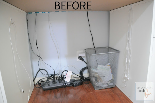 BEFORE: under desk cords are messy :: OrganizingMadeFun.com
