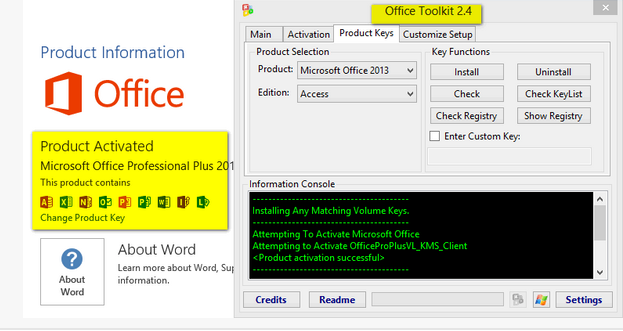 office 2013 change product key registry