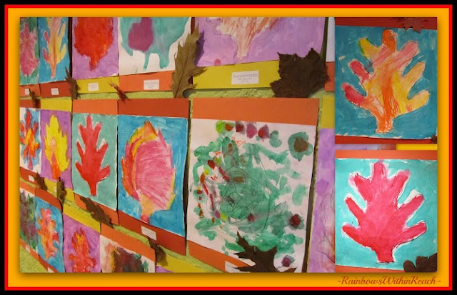 photo of: Bulletin Board of Fall Leaf Celebration of Kindergarten Paintings (from Bulletin Board RoundUP via RainbowsWithinReach) 
