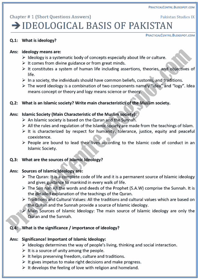 ideological-basis-of-pakistan-short-question-answers-pakistan-studies-9th