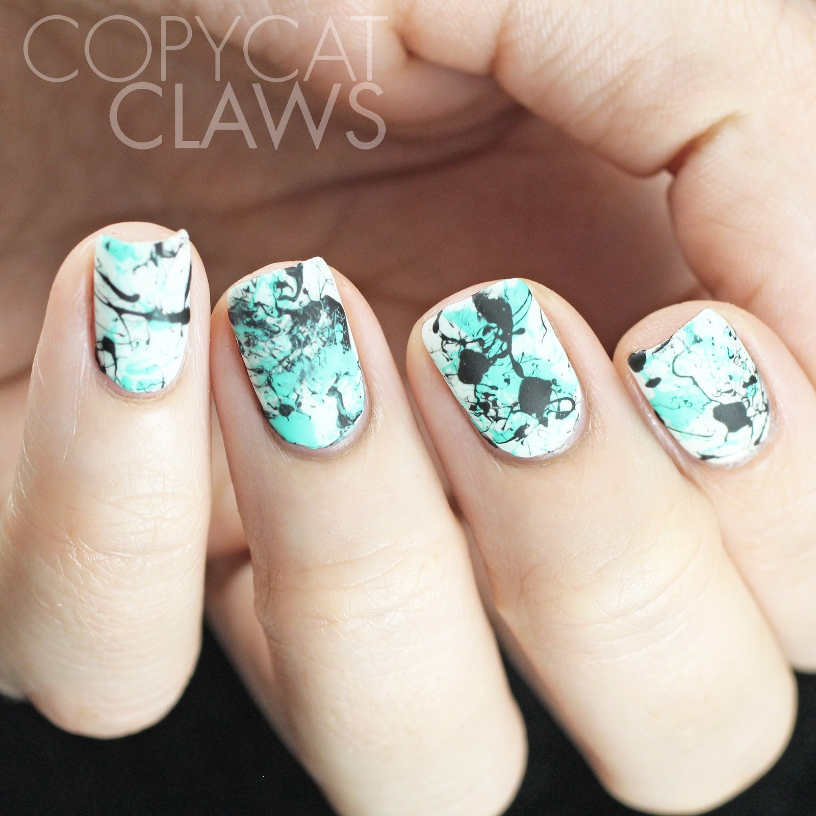 Copycat Claws Blue Color Block Nail Art: Copycat Claws: Aqua Splatter Nails
