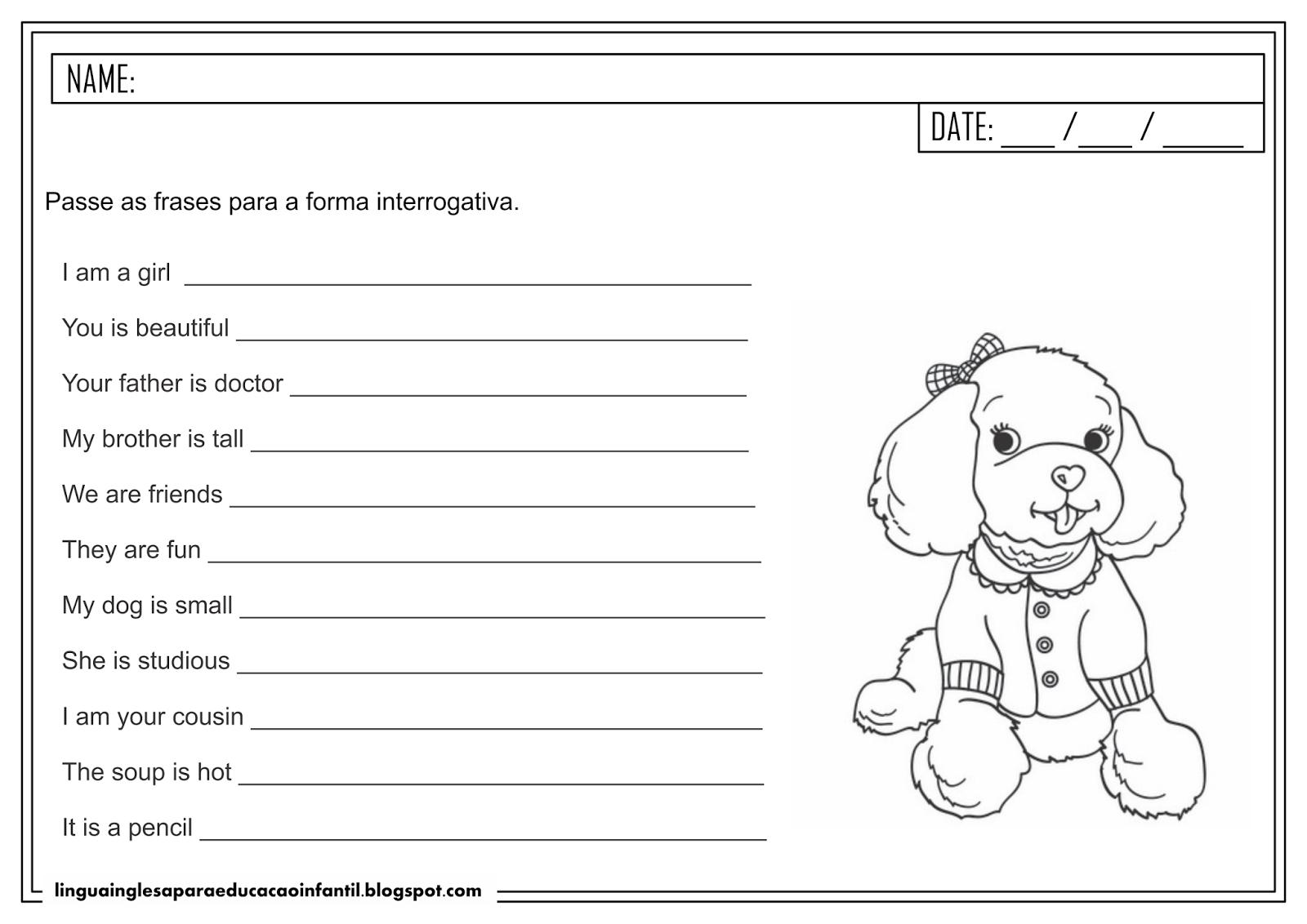 Atividade de inglês para Educação Infantil - Forma interrogativo do verbo 'To Be'