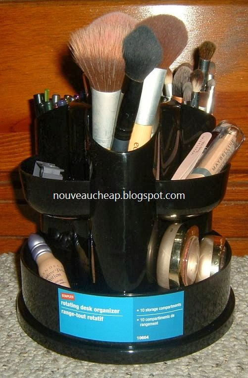Desktop rotary organizer for make up :: OrganizingMadeFun.com