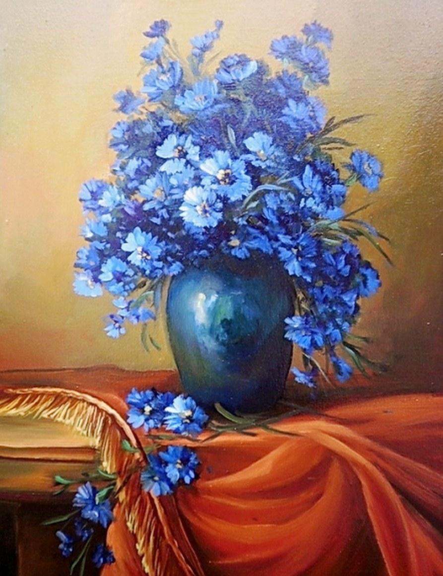 Cuadros pinturas oleos cuadros pintados de jarrones con - Fotos jarrones con flores ...