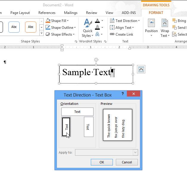 Cách thay đổi hướng của văn bản trong Word 2013 5