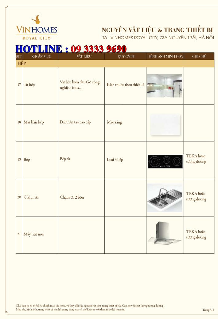 Bảng nguyên vật liệu căn hộ hạng sang Royal City R6 - Trang 3