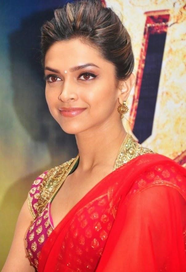 Deepika Padukone huge big cleavage in red saree captured wardrobe malfunction pics