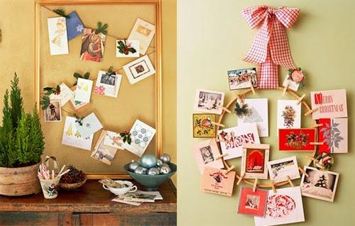 Tarjetas de Navidad en la decoración Cartões de Natal na decoração Christmas Cards Display