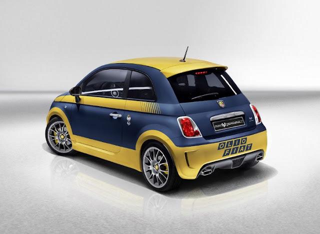 """Abarth 695 Fuori Serie con livera """"Olio Fiat"""" giallo-blu  (vista posteriore)"""