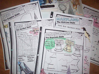 Coloring pages for Mid-Atlantic States
